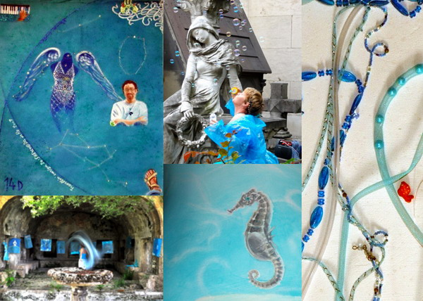 clockwise: Ensign 14 D Angel, 2007: performance at Pére Lachaise 2011; study for hair in/for F; detail of a seahorse in Mediterranea II mannequin, 2000;performance at Carolei, CS, 2010