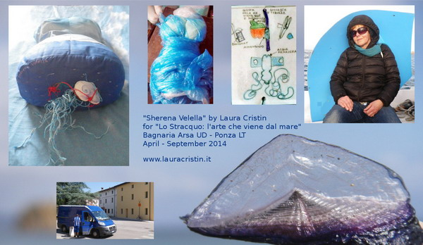 "From Velella Velella fish (bottom right) in anticlockwise direction: 1) with a blue sail given by the Sea, 2) study/details of the inside of ""Sherena Velella"", 3) enwrapping the feelings in the right shape to fill the textile bust, 4) finished torso, seen from the pelvis, 5) ""Sherena Velella"" (in the white box) just about to leave home, headed to the sail in Ponza."" width=""600"" height=""348"" class=""size-full wp-image-503"" /> From Velella Velella fish (bottom right) in anticlockwise direction: 1) with a blue sail given by the Sea, 2) study/details of the inside of ""Sherena Velella"", 3) enwrapping the feelings in the right shape to fill the textile bust, 4) finished torso, seen from the pelvis, 5) ""Sherena Velella"" (in the white box) just about to leave home, headed to the sail in Ponza"