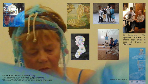 "clockwise from bottom left: 1) still frame from the video of the performance ""Sherena Velella"" in Ponza LT, 2)  Sherena Velella with Ponza harbour, 3) ""Birth of Venus"" by Botticelli at Uffizi, 4) Noriko Shimizu, Gianni Broi, Ryosuke Cohen, Laura Cristin outside Casa di Dante in Florence on September 16th, 5) Ryosuke at work, 6) detail of Tarots' ensign 2 ""ear_th"", 2010, 7) performance at ""Lo Stracquo"", September 14th, 2014, 8) silhouette portrait of Laura Cristin by Ryosuke Cohen, 2009"