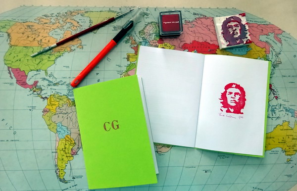 """Che Guevara"" booklet is a story from the handmade poster for my teenager bedroom in 1967 through a nightime move in 1972 ... to  the constant research of freedom up to day. The booklet, handmade and printed in 22 copies is enriched with a rubberstamp of CG, 10 July 2016"