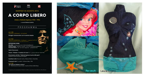 "Poster of ""A Corpo Libero"" tribute for Goliarda Sapienza in Gaeta, August 30th, 2016.  Card with details of the jeans textile bust ""Re-vault"", h 75 cm, mixed tecniques, 2014-'16. Clockwise: Siren's filling -  front view with the moon and the constellation of Scorpio  (Antares), uterus and anemones -  dolphen, moon and starfish in the back."