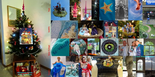 "Main image on the left: Christmas Tree 2016 TOPs: pop-up card ""Pirouettes"" – Santa Claus pendant for ""La Festa dei Cugini"" 1992 – 'Xmas tree top –  Supermoon in Gabria (Gorizia) 13NOV2016 –  starfish in ""Re-vault"" bust 2014-'16 –  photo of my grandma from her diary ""Memorie di Fumis Angela 1914-1916"" –  detail of ""oisEAU"" 1998 – selfie at City Lit in London 2016. heARTs: TRIPtych for the Mothers of Capua 2016 – crib in Naples (San Giovanni Armeno) similar nativity scene (figurines) was sent to Dario1 –  ""Wunderhouse"" oil on glass 1987 – ""Pirouettes NEW"" ball with Brunori Sas figurines – the garden of peace at Kingsley Hall in London. BASE Foliage: detail of ""Re-vault"" in Gaeta (Latina) –  Pulcinella tambourine in Naples –  Rainbow Dash at aardverx in London –  ""OB-LA-DI', OB-LA-DA"" disc revisited 1968-2016 –  at London Biennale opening in Rome with Raffaella Losapio and David Medalla – Kingsley Hall window. TRUNKs: performance ""hell-HEAL-hill"" in Rome –  Siren/dolphin fountain at Napoli Centrale –  Reynolds and I in Rome after having painted on her heart – Olivetti writing 'Xmas Carols 2016 – Afrodite ""Pudica"" at Archeological Museum in Naples –  door-window at Kingsley Hall – baby hazel tree in ""the field"" of Bagnaria Arsa (Udine) similar photo was selected for the calender of the municipality (April)."