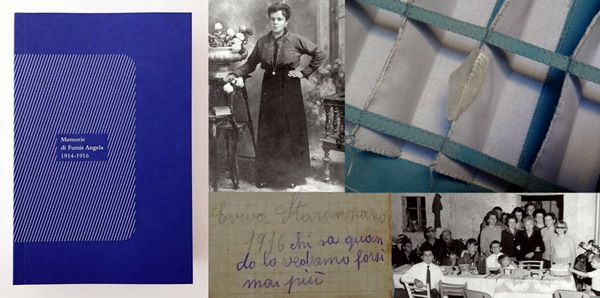 "Left to right clockwise: ""Memorie di Fumis Angela 1914-1916"" book 2016; portrait of Angela1914, detail of Tarotensign XII"