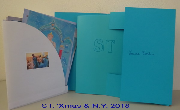 "Presentation case of ST:  20 Tarot cards (little image on the envelope: photo from the performance ""Healing in LDN"" at the Kingsley Hall, 9 September 2017) and a book-memoir in Italian"