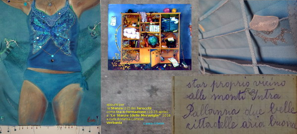 "Clockwise: ""LoveS"" VI standard 2009,  ""Wonderbookcase"" oil on glass 1987, detail of velella in ensign XII ""(la) vie"" 2015, page from the diary ""Memorie di Fumis Angela 1914-'16""."