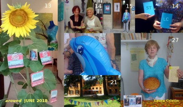 "Clockwise: 13: sentimental  B.day installation with mailart received from Joel Cohen, ATCard ""Sheren in New York 15 June 2012"" in the centre; 14: Natalia receiving from my mum the diary of my grandma Angela at ADN of Pieve Santo Stefano (Arezzo) – incidentally, Fumis Angela was born on 10 June and died on 17 June 1968 – ; 15: standing at the entrance of the Archive of Diaries; 14: donation of my (art)diaries LC (also containing CG) and ST to Archivio Diaristico Nazionale – incidentally ST that stands for Standards (Tarot paintings) can also stand for Saverio Tutino who founded the Archive and 'created' the myth of Che Guevara (born on 14 June) in Italy – ; 27: with Sticker Dude Banana Cake (new receipe) in connection with the reunion of Grateful Dead in Santa Clara (California); 21 (12:07): attending the meeting ""tra pari"" at CSM of Parco Basaglia in Gorizia."