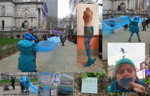 "Clockwise: a long/involving wave for Field Study Gathering at Tate Britain 5JAN2019; installation ""memORiA di Sheren"" in Pinacoteca of Gaeta; another picture from A MARE in London; card for London Biennale 2019; images from ""Myself box"" for microbo.net of Milan; further picture of A MARE involving Nat Fonnesu"